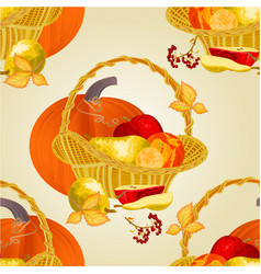 seamless texture fruits in a basket vector image
