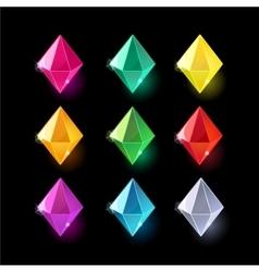 Set of cartoon different color crystalsgemstones vector