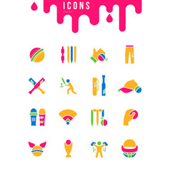 set simple icons cricket vector image
