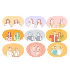sign language gestures hands communication vector image