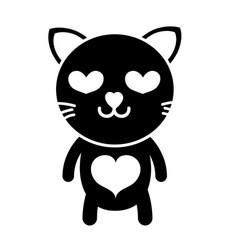 silhouette enamored cat cute feline animal vector image