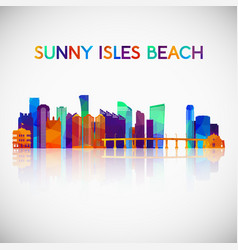 sunny isles beach skyline silhouette in colorful vector image