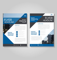 Triangle Blue annual report Leaflet Brochure set vector