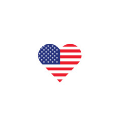 united states usa flag heart love vector image