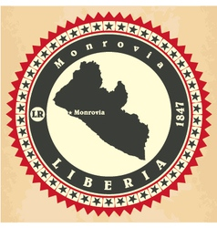 Vintage label-sticker cards of liberia vector