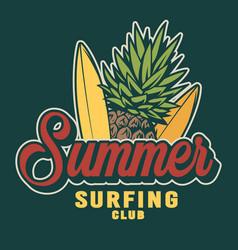 vintage summer surfing colorful label vector image