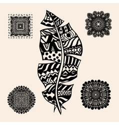 Vintage tribal feather vector