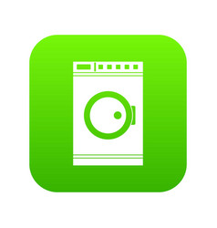 Washing machine icon digital green vector