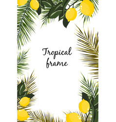 watercolor frame tropical leaves and lemons vector image
