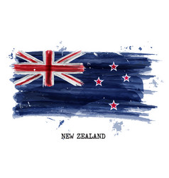 Watercolor painting flag new zealand vector
