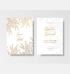 Wedding vintage invitation save date card vector