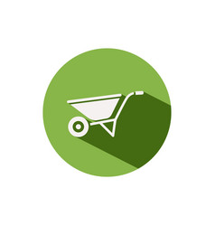 Wheelbarrow icon on a green circle gardening vector
