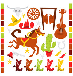 whimsical wild western design elements vector image