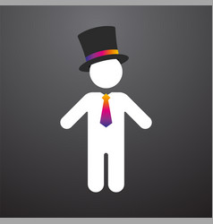 White figure with a top hat and colorful tie vector