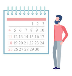 Young man looking at month calendar on wall vector