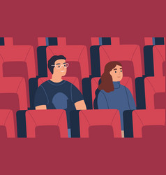 young spectator couple friends watch film at vector image