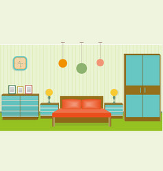 bright bedroom interior in flat style vector image