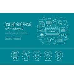 E-commerce web design concept Line icons for vector image