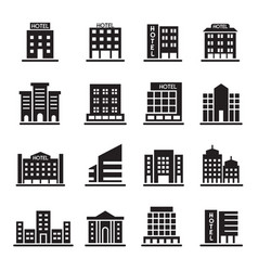 hotel building office tower building icons set vector image vector image