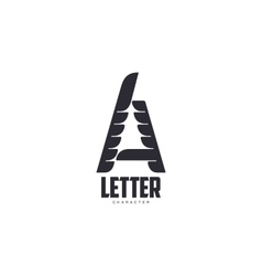 Letter A logo template with three-edged star vector image vector image
