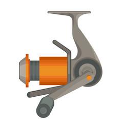 orange spinning reel for fishing in flat design vector image
