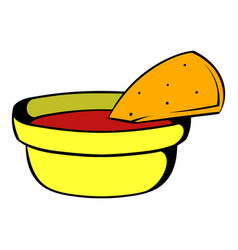 pepper sauce with pita bread icon cartoon vector image