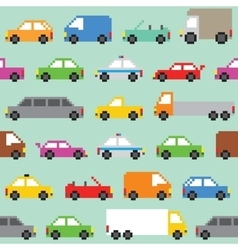 Pixel art traffic seamless pattern vector image vector image