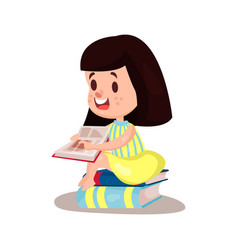 sweet brunette girl reading a book sitting on a vector image vector image
