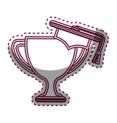 trophy cup with hat graduation award isolated icon vector image vector image