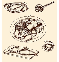 vintage hand drown seafood vector image vector image