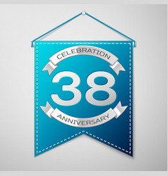 blue pennant with inscription thirty eight years vector image