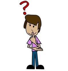 Cartoon man and a question mark vector image vector image