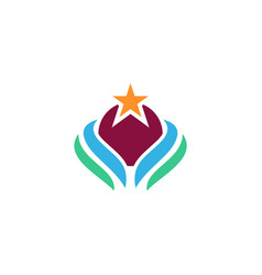ecology planet star logo vector image vector image