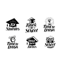 education set of labels or icons school college vector image