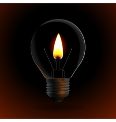 lightbulb with fire candle on dark background vector image