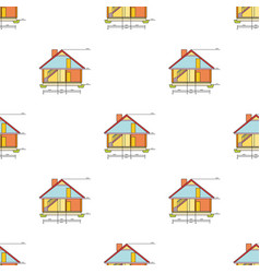 technical drawing of house icon in cartoon style vector image vector image