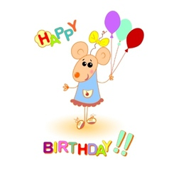 baby mouse happy birthday greeting card vector image vector image