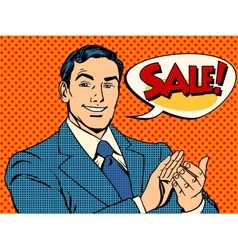 Businessman sale applause vector image