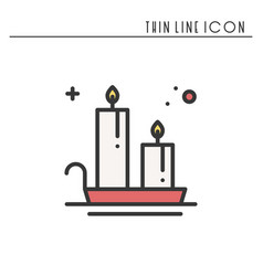 christmas candle line outline icon new year two vector image