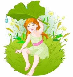 girl under leaf vector image