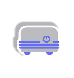 In paper sticker style toaster vector