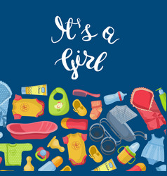 it is girl with lettering and vector image