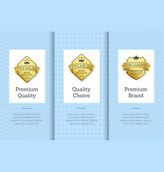 premium brand quality choice gold label guarantee vector image