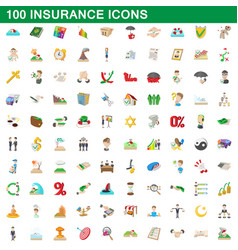 100 insurance icons set cartoon style vector image vector image