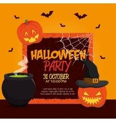 poster halloween party with pumpkin design vector image vector image