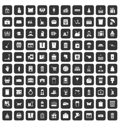100 box icons set black vector