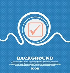 A check mark sign icon Blue and white abstract vector image