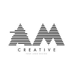 Am a m zebra letter logo design with black vector