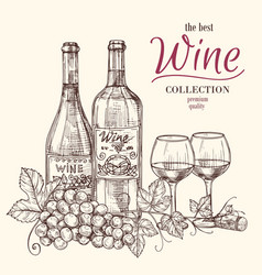 best wine banner template with hand drawn vector image