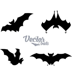 black bats silhouettes set vector image